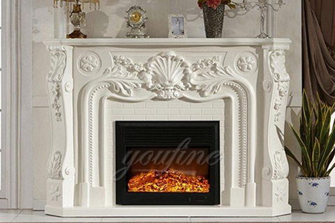 Indoor French style white marble fireplace for sale