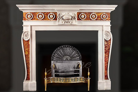 Decorative Georgian multi color marble fireplace frame for sale
