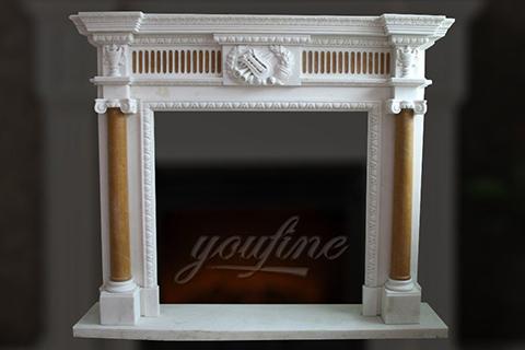 Indoor unique Georgian multi color marble fireplace surround