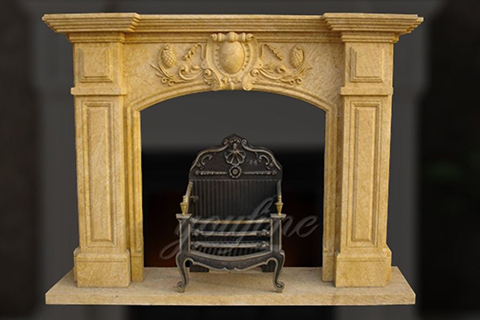 Decorative Regency beige marble fireplace mantel for sale
