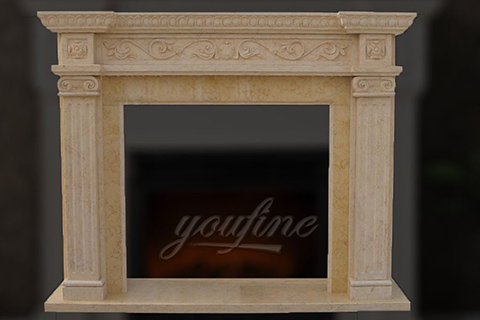 High quality decorative Regency beige marble fireplace frame for sale