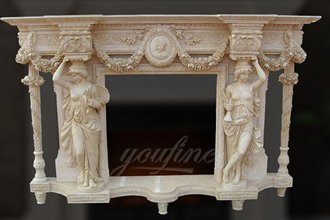 Decorative luxury beige marble fireplace mantel for sale