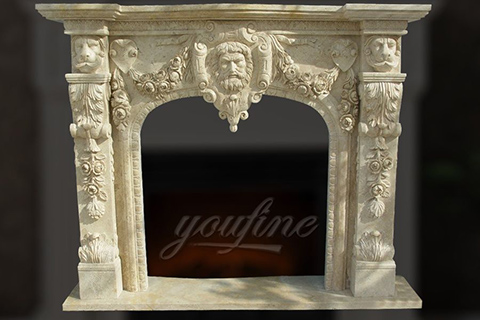 Decorative lion head beige marble fireplace mantel for sale