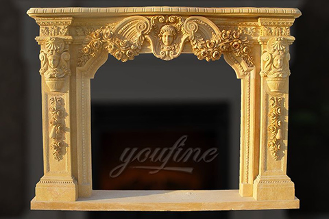 Decorative antique beige marble fireplace mantel for interior use