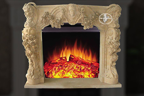 Classical design decorative beige marble fireplace mantel on sale