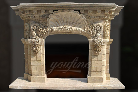 High quality antique beige marble fireplace mantel