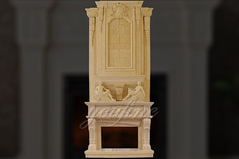 Large carved statue beige marble fireplace over mantel for saleLarge carved statue beige marble fireplace over mantel for sale