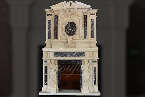 Large luxury beige marble fireplace over mantel for sale