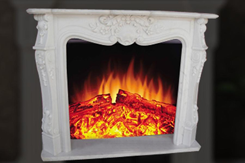 Factory decorative french style white marble fireplace mantel on sale