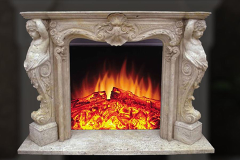 New design indoor decorative French style beige marble fireplace