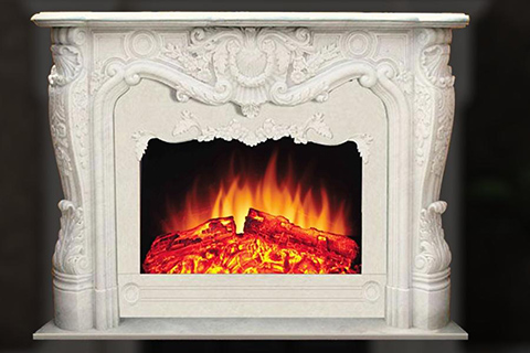 Interior Decoration French hand carved marble fireplace mantel