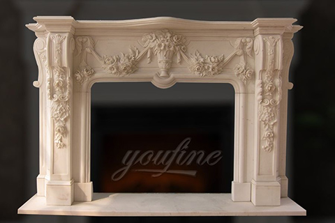 Decorative Georgian beige marble fireplace mantel for sale